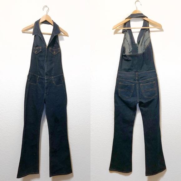 db7cb764f2c lei Pants - Vintage LEI Denim Halter Open Back Jumpsuit